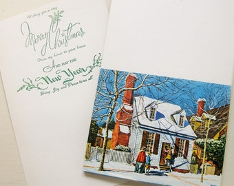 """VIntage ArtCard Christmas cards. 16 quality """"Hanging the Wreath"""" cards by artist John Lynch. ArtCard No.761. NO ENVELOPES."""