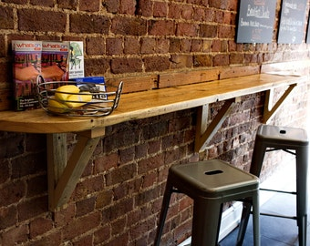 Rustic reclaimed wooden breakfast bar made to measure.
