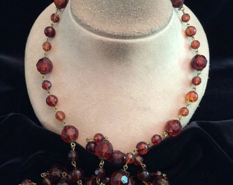 Vintage Long Brown Beaded Necklace