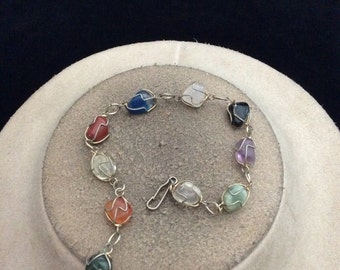 Vintage Hand Made Wire Wrapped Colorful Glass Stone Bracelet