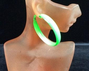 Vintage Large Bright Green Enameled Hoop Earrings