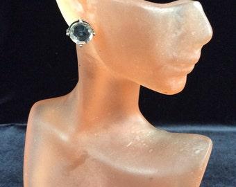 Vintage Clear Rhinestone Stud Earrings