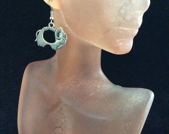 Vintage Silvertone Elephant Dangle Earrings