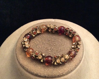 Vintage Shades Of Brown Rhinestone & Glass Beaded Bracelet