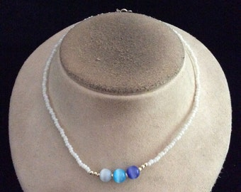 Vintage White & Shades Of Blue Glass Beaded Necklace