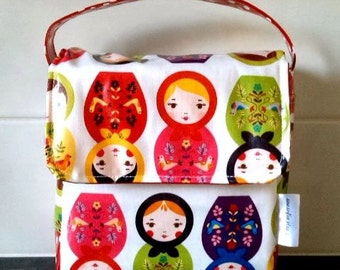 NEW - Russian Dolls Insulated Lunch Bag // Wipe clean lunch sack // Baby Bottle Bag // Laminated cotton Food Bag