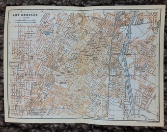 1909 Los Angeles Map [7.9 x 5.8 in.] Fashion District, Arts District, China Town, Little Tokyo, Financial District, Aliso Village, Geffen