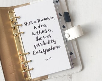 She's a Dreamer {A5} Planner Dashboard