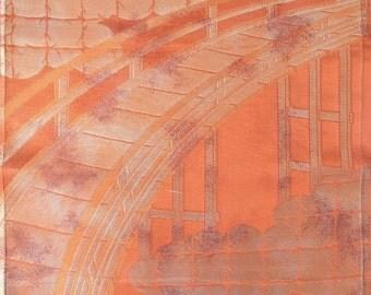 Bridge Persimmon Vintage JapaneseObi Silk Fabric / Brocade - BX06