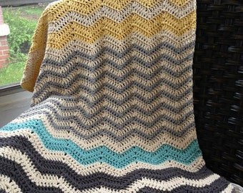 Chevron Crochet Baby Blanket | Made to Order