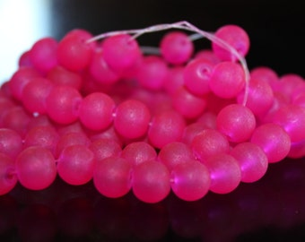 100 approx. 8 mm deep hot pink frosted glass beads, round and smooth, one strand for making jewelry