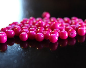 70 glass beads, 6 mm deep hot pink round and smooth, bubblegum style beads, baking painted