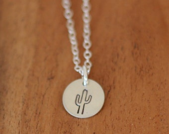 Cactus Sterling Silver Necklace, Cactus Necklace, Dainty Necklace, Tiny Cactus Necklace, Southwest Necklace, Saguaro Necklace