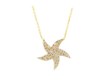 14K Solid Gold Starfish Charm Necklace
