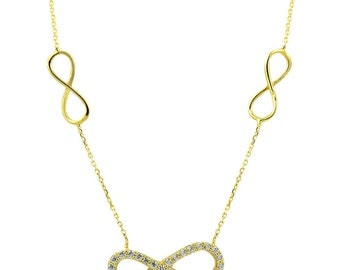 14K Solid Yellow Gold Infinity Necklace