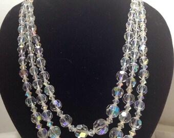 Vintage 3 strand glass necklace