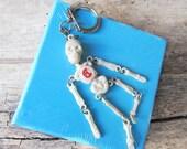 Vintage Keychain Skeleton Halloween Skeleton Skeleton Key Ring Skullcandy CrossBones  Halloween Decor  Gothic Keychain