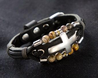 Black Leather Silver Cross Bracelet with Jasper Gemstones