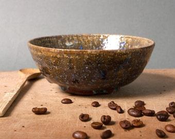 vintage bowl danish brown blue studio pottery unique denmark scandinavia nordic retro home kitchen