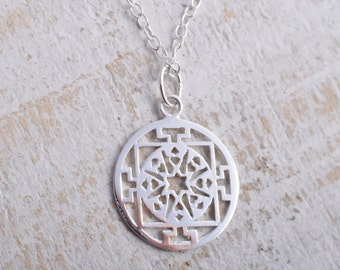 Sterling Silver 925 filigree circle charm chain necklace