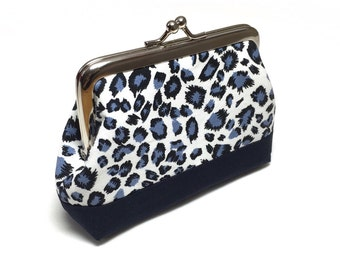 Coin Purse - Blue Leopard Print fabric