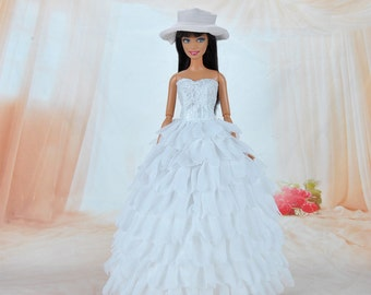 Handmade Gorgeous White Formal Dress Princess Gown Doll Clothes For Barbie Dolls