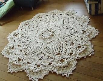 Crochet rug, crochet carpet ,doily lace rug, knitted carpet, knitted rug 60 inc