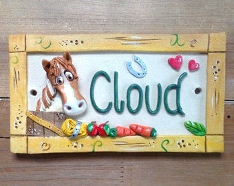 Horse Stable Plate Sign, Personalised Stall Name Plaque for Horses and Donkeys, Ceramic