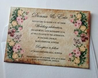 """Floral vintage wedding invitation """"Donna"""""""