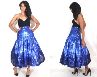 Vintage 80 Metallic Blue Lame High Waist Full Maxi Skirt Glam Party