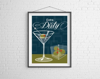 Martini - Martini Print - Cocktail Art - Wall Art Illustration - Cocktail Illustration - Bar Decor - Bar Art - Cocktail Poster - Extra Dirty