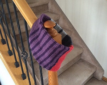 Infinity Scarf Cowl - Stripes in Purple, Grey and Red