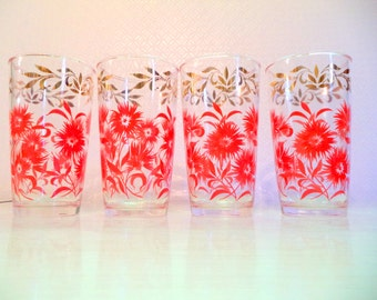 Vintage Glasses Red Flowers Gold Leaves Scroll Mid Century Anchor Hocking Floral Pinks Carnations 4 High Ball Barware Set of Four