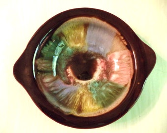 Vintage Glazed Bowl 60s Pottery Round Trinket Dish Pink Blue Green Yellow Brown