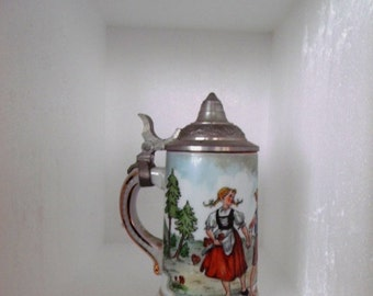 SALE VINTAGE ,Dutch Boy and Girl Scene on  Stein, Mother Calling Them From House NEW old store stock, Perfect Condition.