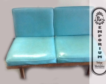Vintage Love Seat 1950's Mid Century Modern Turquoise Vinyl With Wood Base No. 1