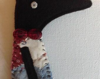 Primitive textile antique patchwork fox brooch, pin, badge, button