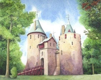 "Painting of Castell coch Cardiff | Original watercolour castle | Welsh castle | 9"" x 9"" 