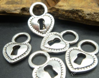 BULK - Antique Silver Heart Lock Charms - Wedding Charms Wholesale Lot  -MC0818