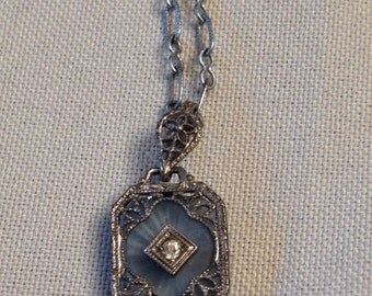 Antique Deco Blue Camphor Glass & Rhinestone Filigree Pendant on paperclip chain