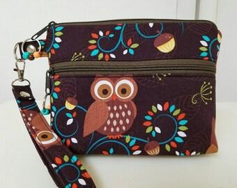 Wristlet, Small Purse, Phone Case, Top & Front Zipper, Owls, Birds, Brown,Black Nylon Liner, Gusset Bottom,Swivel Clip, Washable.