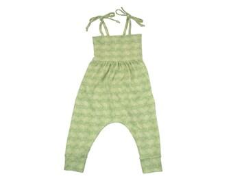 Baby Harem Romper, Toddler Harem Romper, Girls Romper, Baby Romper, Toddler Romper, Harem Romper, Baby Girl Romper, Floral Romper, Sage