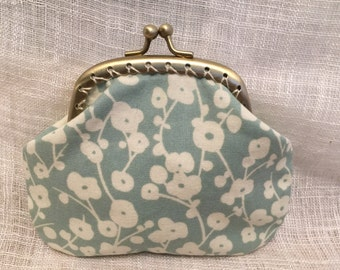 Flowers on Blue Coin Purse