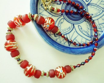 Red Lampworked Glass Beads Necklace, Red & Blue Glass Bead Necklace, OOAK Necklace