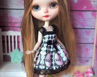 Circus Canes - Pastel Goth Dress for Blythe Pullip Azone & Momoko