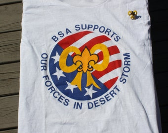 Vintage Boy Scout Desert Storm NOS tee shirt and Lapel pin with yellow ribbon.
