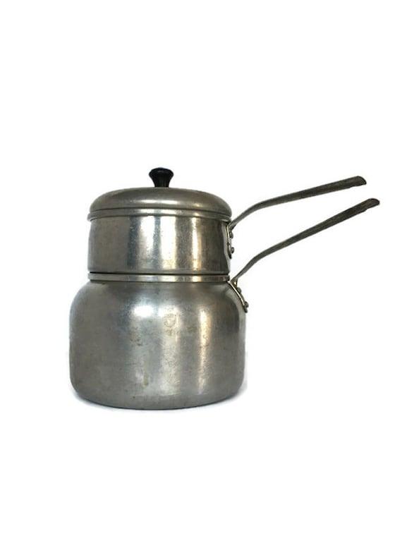 Vintage Wearever double boiler aluminum cooking pots rustic farmhouse