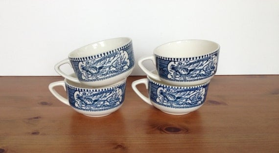 Vintage blue transferware coffee cups set of 4 mugs woman and carriage