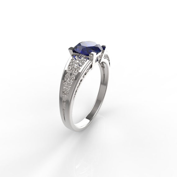 unique sapphire ring antique style engagement ring 14kt