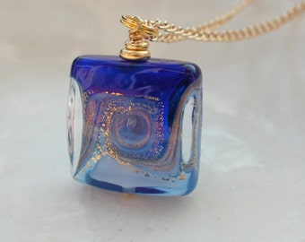Square Venetian Murano Glass Necklace